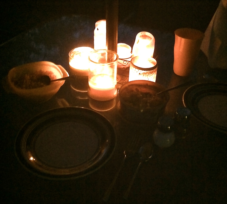 Our very late (because it took forever to finish the yard) candlelit dinner. We had kabobs, mac n cheese, and corn.